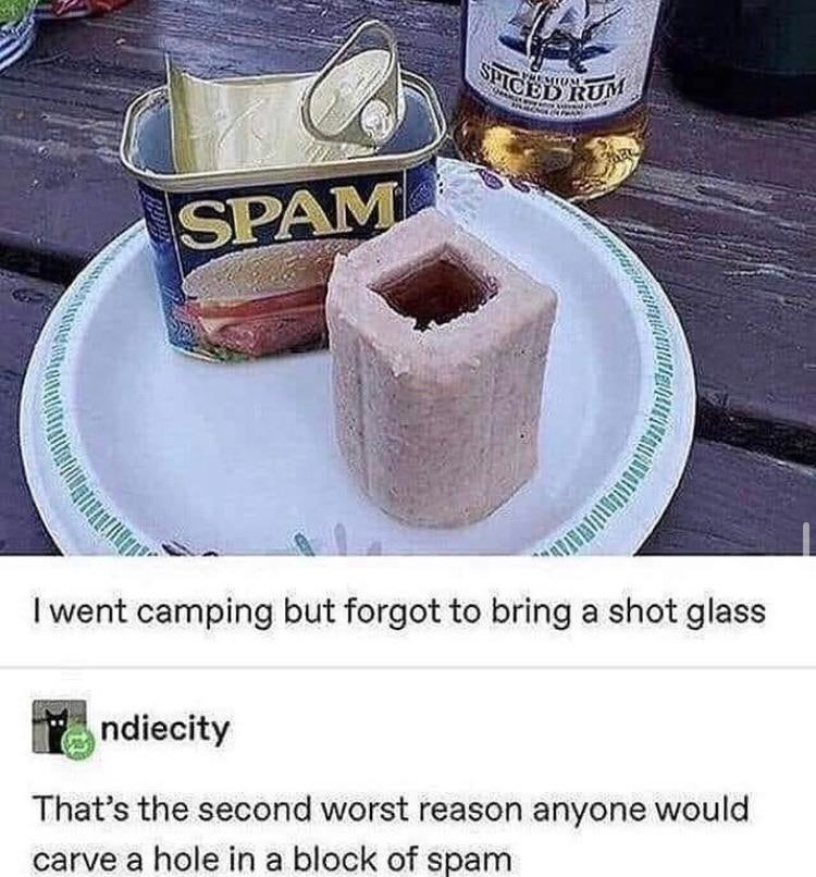 Food - SHICED RUM SPAM I went camping but forgot to bring a shot glass ndiecity That's the second worst reason anyone would carve a hole in a block of spam