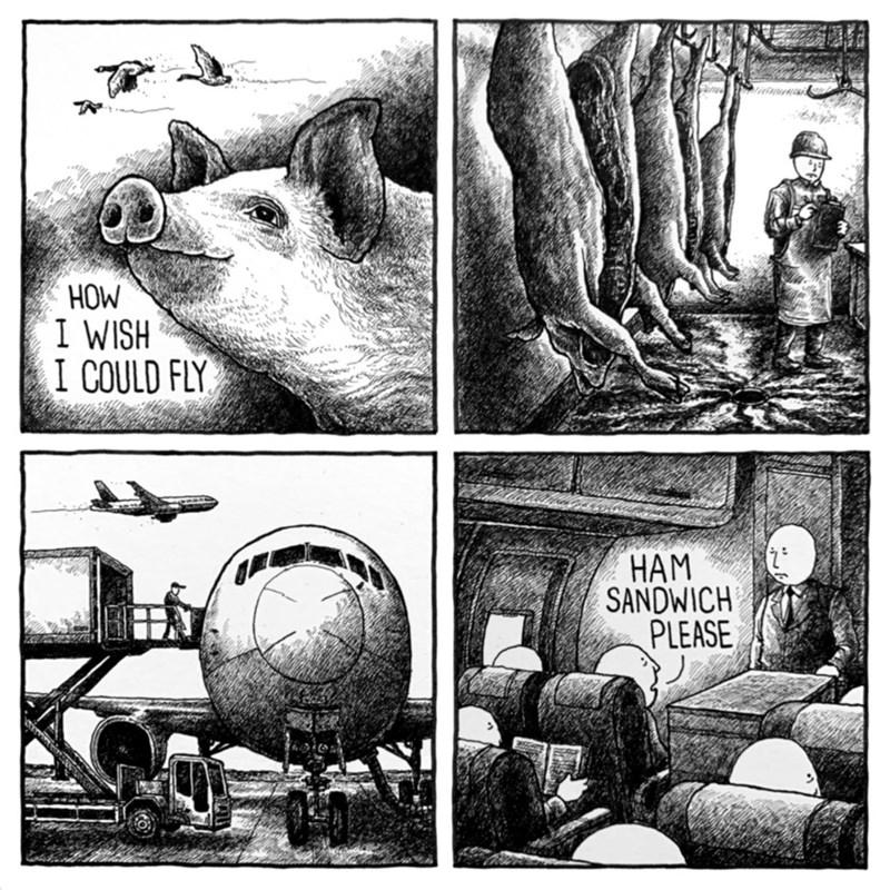 Cartoon - Vitiuun HOW I WISH I COULD FLY HAM SANDWICH PLEASE
