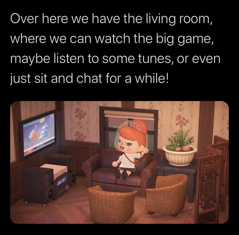 Cartoon - Cartoon - Over here we have the living room, where we can watch the big game, maybe listen to some tunes, or even just sit and chat for a while!