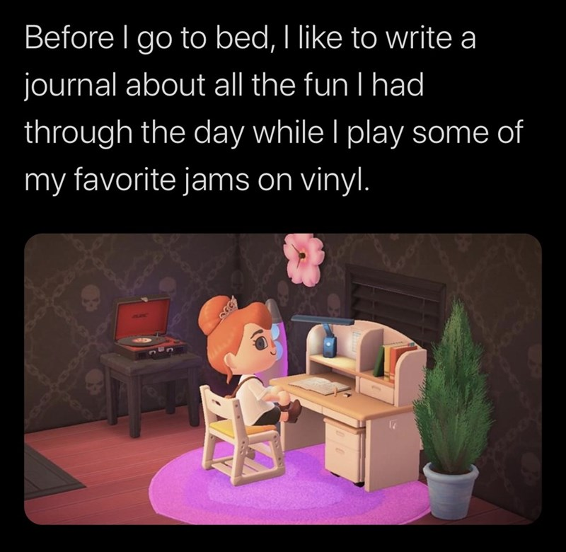 Text - Before I go to bed, I like to write a journal about all the fun I had through the day while I play some of my favorite jams on vinyl.
