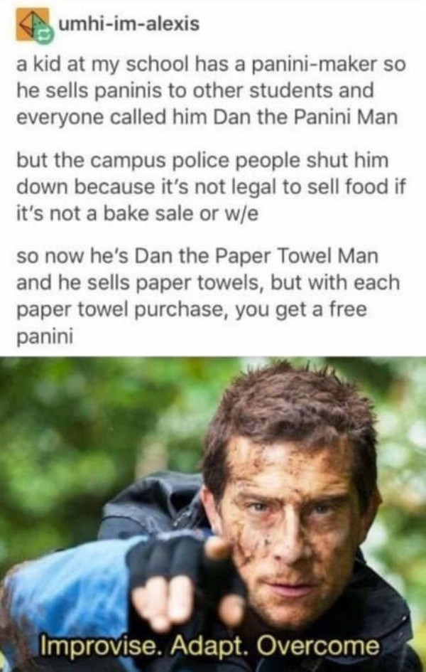 Text - umhi-im-alexis a kid at my school has a panini-maker so he sells paninis to other students and everyone called him Dan the Panini Man but the campus police people shut him down because it's not legal to sell food if it's not a bake sale or w/e so now he's Dan the Paper Towel Man and he sells paper towels, but with each paper towel purchase, you get a free panini Improvise. Adapt. Overcome