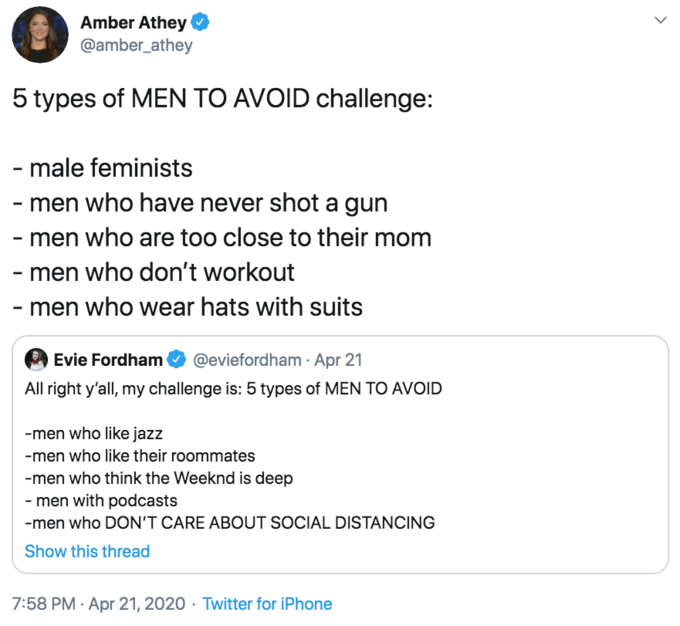 Text - Amber Athey @amber_athey 5 types of MEN TO AVOID challenge: - male feminists - men who have never shot a gun - men who are too close to their mom - men who don't workout - men who wear hats with suits Evie Fordham All right y'all, my challenge is: 5 types of MEN TO AVOID @eviefordham · Apr 21 -men who like jazz -men who like their roommates -men who think the Weeknd is deep - men with podcasts -men who DON'T CARE ABOUT SOCIAL DISTANCING Show this thread 7:58 PM · Apr 21, 2020 · Twitter fo