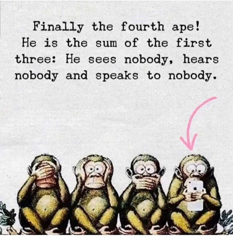 Text - Finally the fourth ape! He is the sum of the first three: He sees nobody, hears nobody and speaks to nobody.