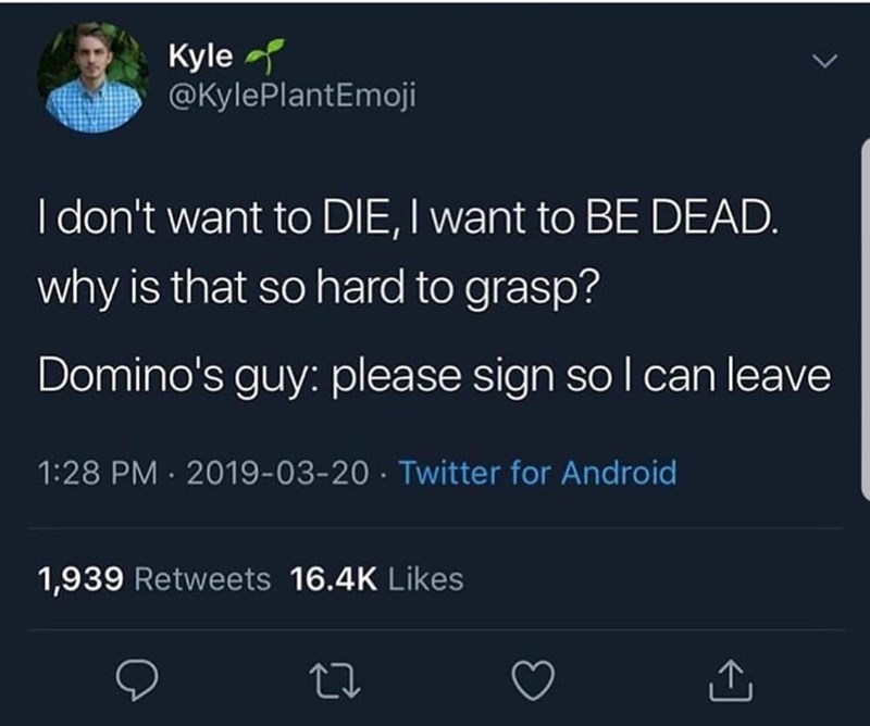 Text - Kyle @KylePlantEmoji I don't want to DIE, I want to BE DEAD. why is that so hard to grasp? Domino's guy: please sign so l can leave 1:28 PM · 2019-03-20 · Twitter for Android 1,939 Retweets 16.4K Likes