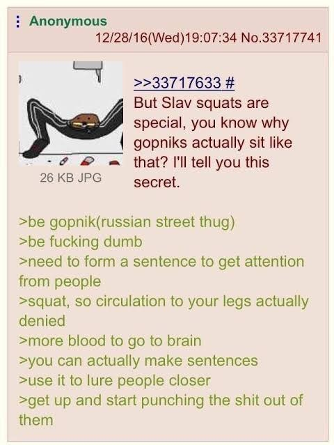 Text - : Anonymous 12/28/16(Wed)19:07:34 No.33717741 >>33717633 # But Slav squats are special, you know why gopniks actually sit like that? I'll tell you this 26 KB JPG secret. >be gopnik(russian street thug) >be fucking dumb >need to form a sentence to get attention from people >squat, so circulation to your legs actually denied >more blood to go to brain >you can actually make sentences >use it to lure people closer >get up and start punching the shit out of them