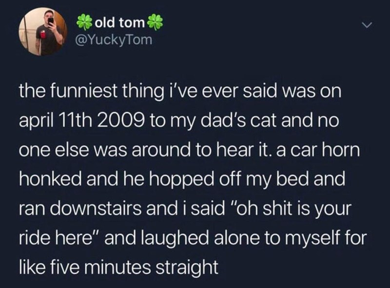 "Text - old tom @YuckyTom the funniest thing i've ever said was on april 11th 2009 to my dad's cat and no one else was around to hear it. a car horn honked and he hopped off my bed and ran downstairs and i said ""oh shit is your ride here"" and laughed alone to myself for like five minutes straight"