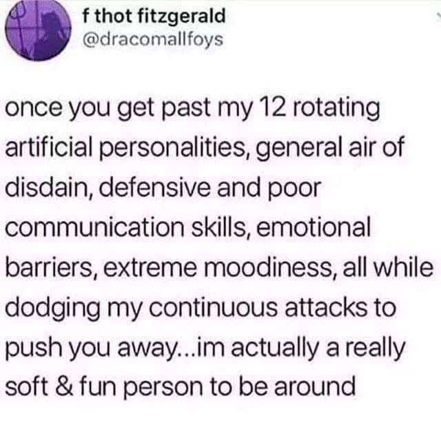 Text - f thot fitzgerald @dracomallfoys once you get past my 12 rotating artificial personalities, general air of disdain, defensive and poor communication skills, emotional barriers, extreme moodiness, all while dodging my continuous attacks to push you away...im actually a really soft & fun person to be around