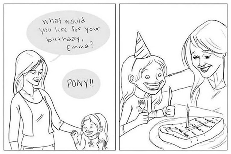 Cartoon - what would you like for your birthday, Emma? PONY!!