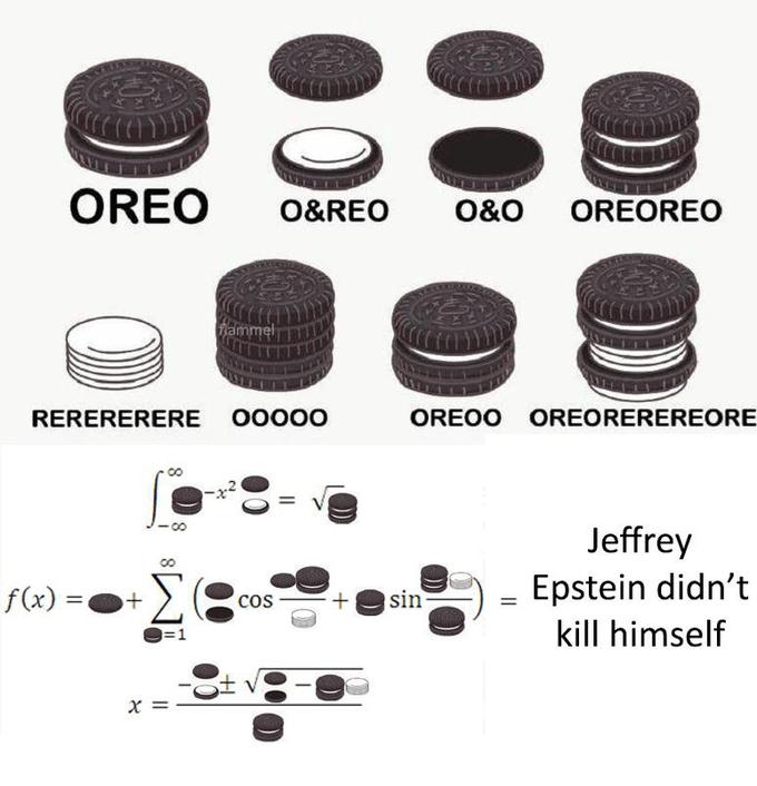 Font - OREO O&REO O&O OREOREO fammel RERERERERE 00000 OREOO OREOREREREORE Jeffrey f(x) : cos sin Epstein didn't =1 kill himself