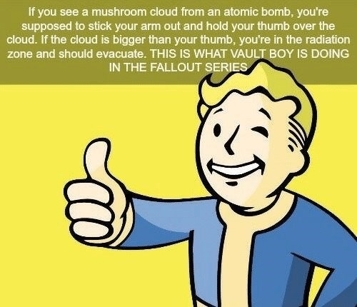 Facial expression - If you see a mushroom cloud from an atomic bomb, you're supposed to stick your arm out and hold your thumb over the cloud. If the cloud is bigger than your thumb, you're in the radiation zone and should evacuate. THIS IS WHAT VAULT BOY IS DOING IN THE FALLOUT SERIES