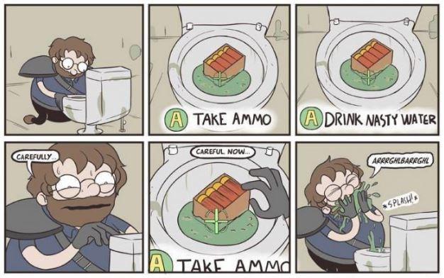 Cartoon - (A) TAKE AMMO A DRINK NASTY WATER CAREFULLY CAREFUL NOW. ARRRGHLBARRGHL SPLASH!. A TAKE AMMd