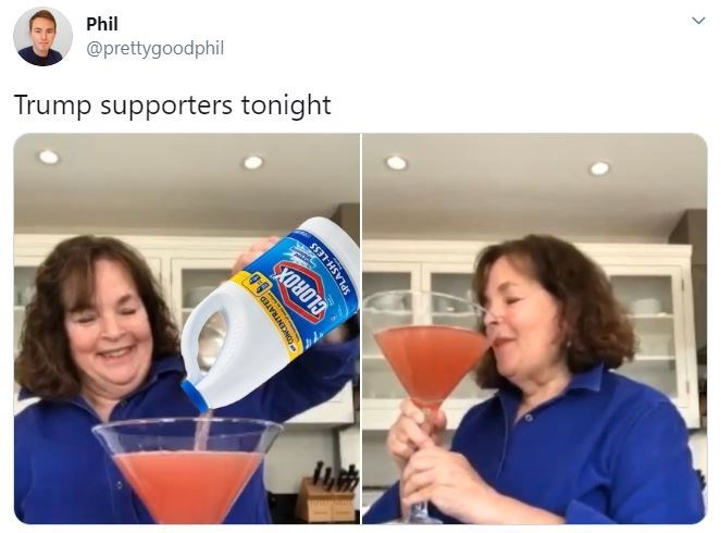 Product - Phil @prettygoodphil Trump supporters tonight CLOROX ONCENTRATED SPLASH-LESS
