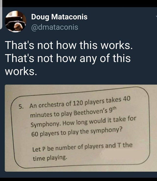 Text - Doug Mataconis @dmataconis That's not how this works. That's not how any of this works. 5. An orchestra of 120 players takes 40 minutes to play Beethoven's 9th Symphony. How long would it take for 60 players to play the symphony? Let P be number of players and T the time playing.