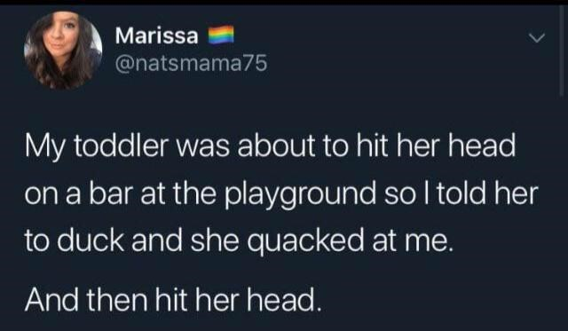 Text - Marissa @natsmama75 My toddler was about to hit her head on a bar at the playground so I told her to duck and she quacked at me. And then hit her head.