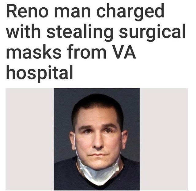 Face - Reno man charged with stealing surgical masks from VA hospital