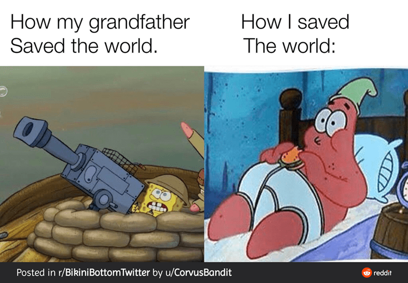 Cartoon - How my grandfather How I saved The world: Saved the world. Posted in r/BikiniBottomTwitter by u/CorvusBandit 6 reddit