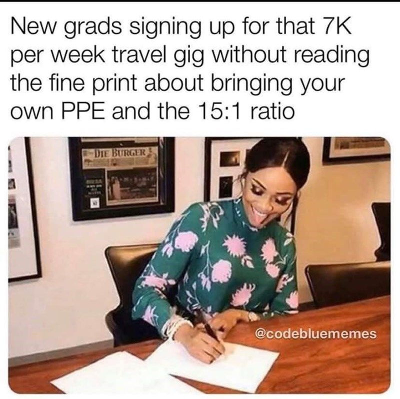 Text - New grads signing up for that 7K per week travel gig without reading the fine print about bringing your own PPE and the 15:1 ratio DIE BURGER @codebluememes