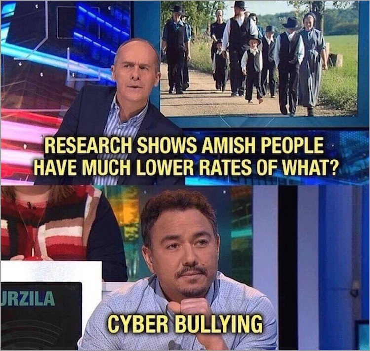 News - RESEARCH SHOWS AMISH PEOPLE HAVE MUCH LOWER RATES OF WHAT? URZILA CYBER BULLYING