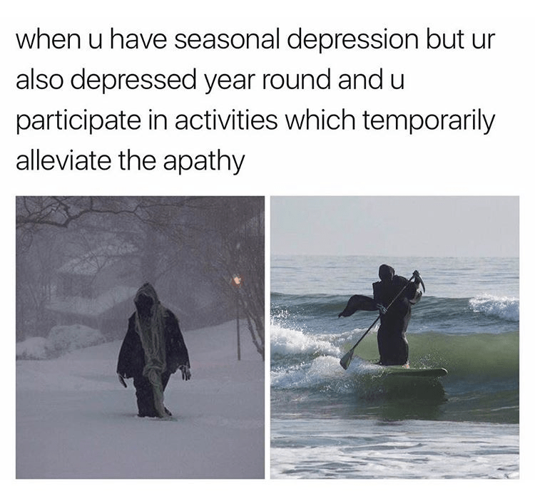 Text - when u have seasonal depression but ur also depressed year round and u participate in activities which temporarily alleviate the apathy