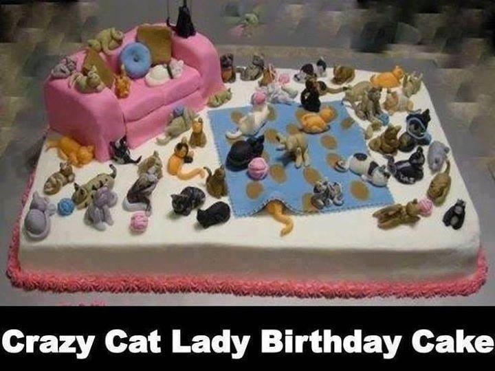 Crazy Cat Lady Birthday Cake shaped like a room with a sofa completely covered and filled with tiny edible cat figurines