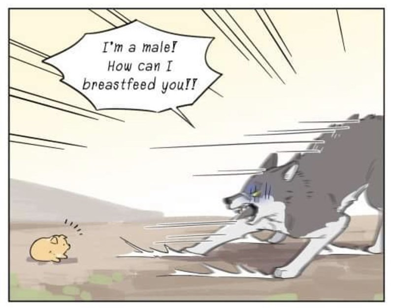 Cartoon - I'm a male! Нow can I breastfeed you!!