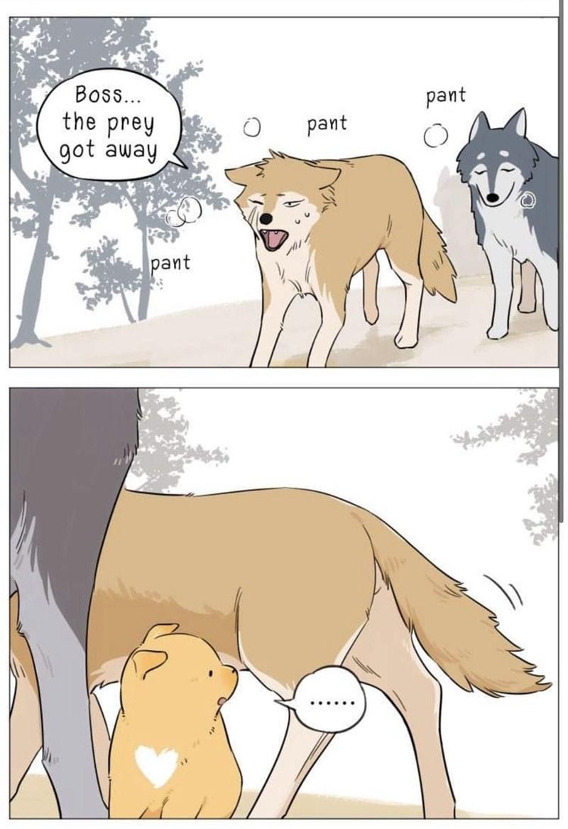 Cartoon - Boss.. the prey got away pant pant pant