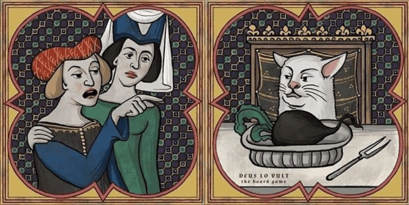 woman yelling at a cat meme redrawn as church like stained glass window