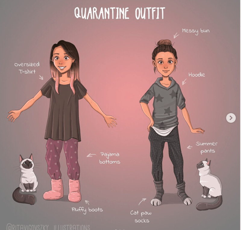 Design - QUARANTINE OUTFIT Messy bun Oversized T-shirt Hoodie Summer pants Pajama bottoms Fluffy boots Cat paw socks ORITAVIGOVSZKY ILUSTRATIONS