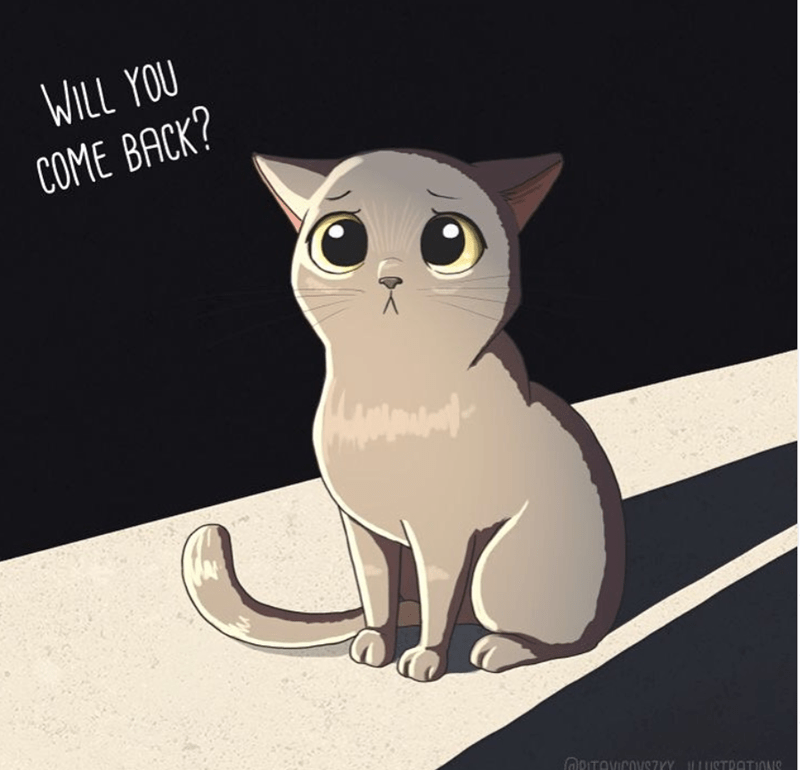 Cat - WILL YOU COME BACK? ORITOVICOVSZYY ILUSTRATIONS