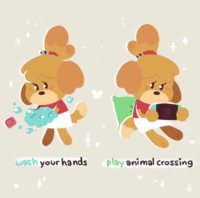 Cartoon - CHISO wash your hands play animal crossing