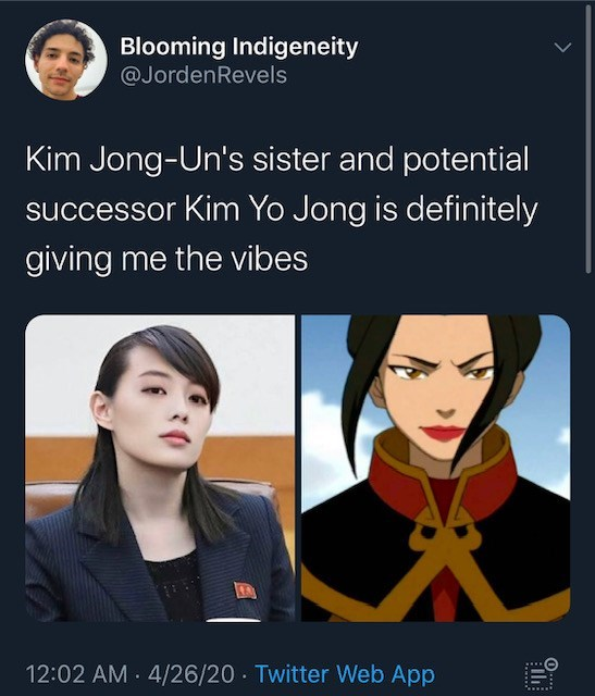 Text - Blooming Indigeneity @JordenRevels Kim Jong-Un's sister and potential successor Kim Yo Jong is definitely giving me the vibes 12:02 AM 4/26/20 - Twitter Web App