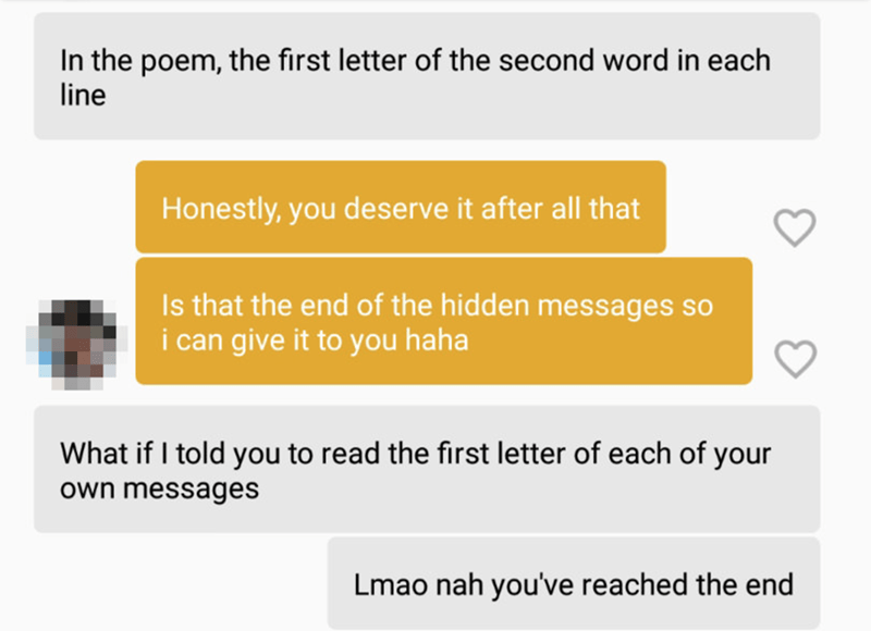 Text - In the poem, the first letter of the second word in each line Honestly, you deserve it after all that Is that the end of the hidden messages so i can give it to you haha What if I told you to read the first letter of each of your own messages Lmao nah you've reached the end