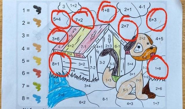 Cartoon - 1+2 4-1 1 = +8 2+1 5+4 7+2 6+3 2 = 2+7 %3D 3+6 2+2 4+5 4+2 4+1 2+3 6-1 4. 7-1 %3D 2+1 2+41+5 3+2 5 = 8+1 3+2 3-2 5-3 5+4 7-2 5-2 1+8 +4 3+1 1+2 1+3 2+2 7 = 3+4 2+6 5-1 8 = 8-1 6+2 4+3 1+7 5+1