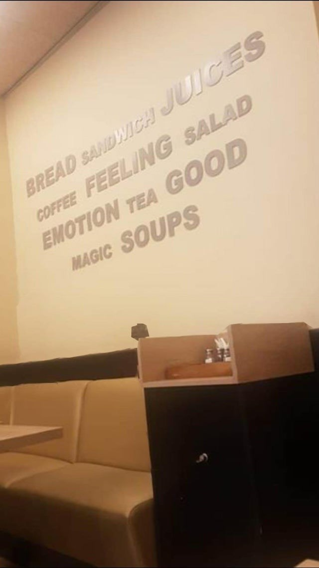 Text - BREAD SANDWICH JUICES COFFEE FEELING SALAD EMOTION TEA GOOD MAGIC SOUPS