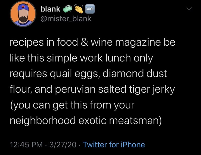 Text - blank COL @mister_blank recipes in food & wine magazine be like this simple work lunch only requires quaileggs, diamond dust flour, and peruvian salted tiger jerky (you can get this from your neighborhood exotic meatsman) 12:45 PM · 3/27/20 · Twitter for iPhone