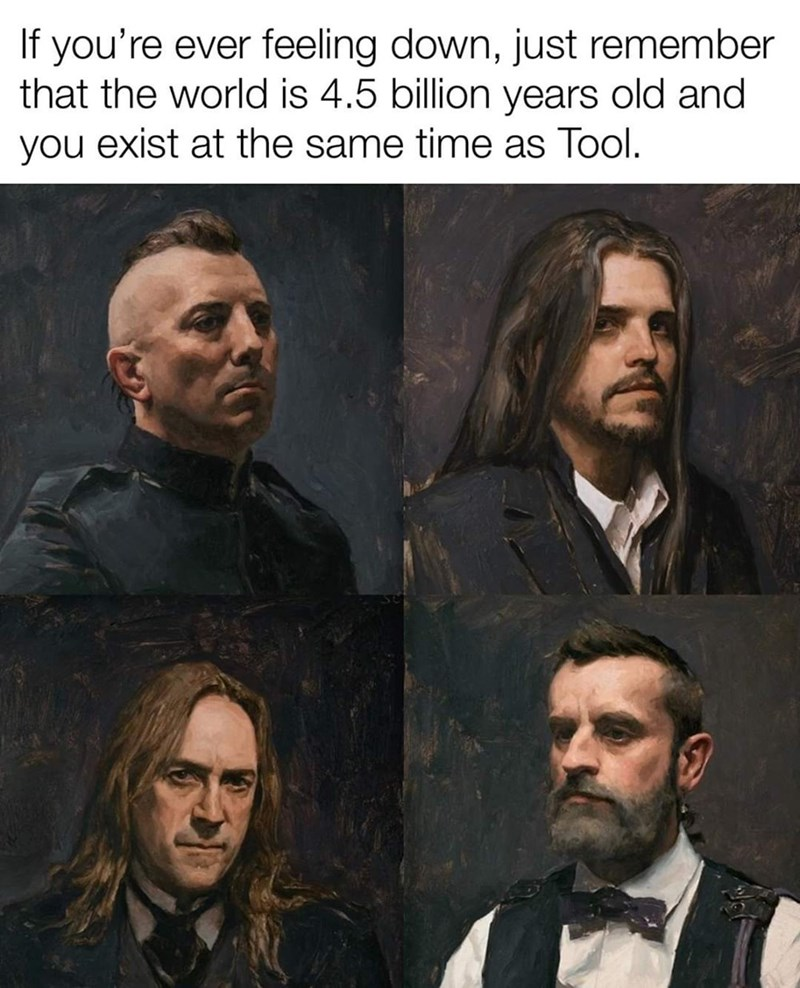 Facial hair - If you're ever feeling down, just remember that the world is 4.5 billion years old and you exist at the same time as Tool.