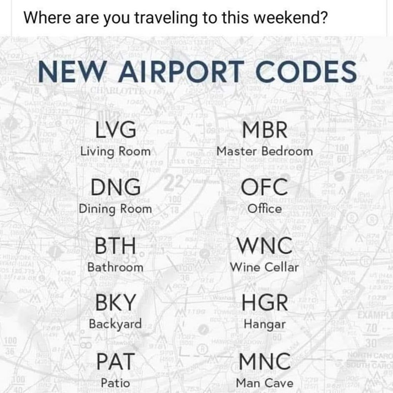 Text - Where are you traveling to this weekend? NEW AIRPORT CODES CHARLOTTE Locus GAHONIA बि dland LVG MBR OCAB Living Room CH C Master Bedroom 100 60 DNG 22 100 OFC ONRIE- Dining Room Office D .715A ВТН WNC 634 ZAL Bathroom Wine Cellar Wanha BKY Backyard HGR Hangar 60 EXAMPLE 70 जा 100 36 30 NORTH CARO PAT MNC Patio Man Cave