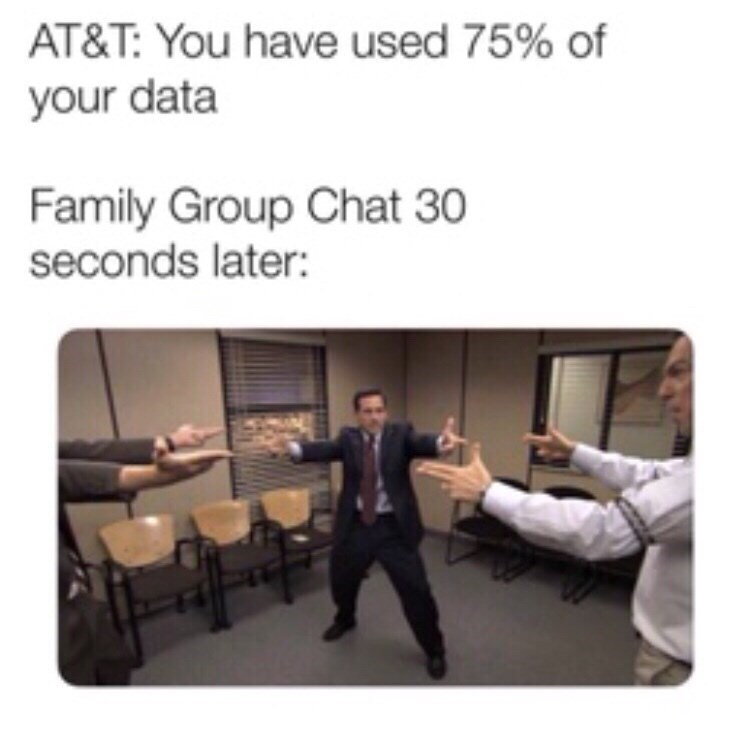 Text - AT&T: You have used 75% of your data Family Group Chat 30 seconds later: