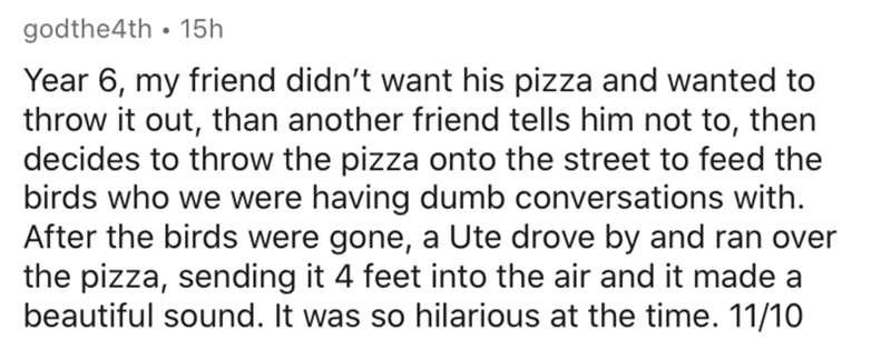 Text - godthe4th • 15h Year 6, my friend didn't want his pizza and wanted to throw it out, than another friend tells him not to, then decides to throw the pizza onto the street to feed the birds who we were having dumb conversations with. After the birds were gone, a Ute drove by and ran over the pizza, sending it 4 feet into the air and it made a beautiful sound. It was so hilarious at the time. 11/10