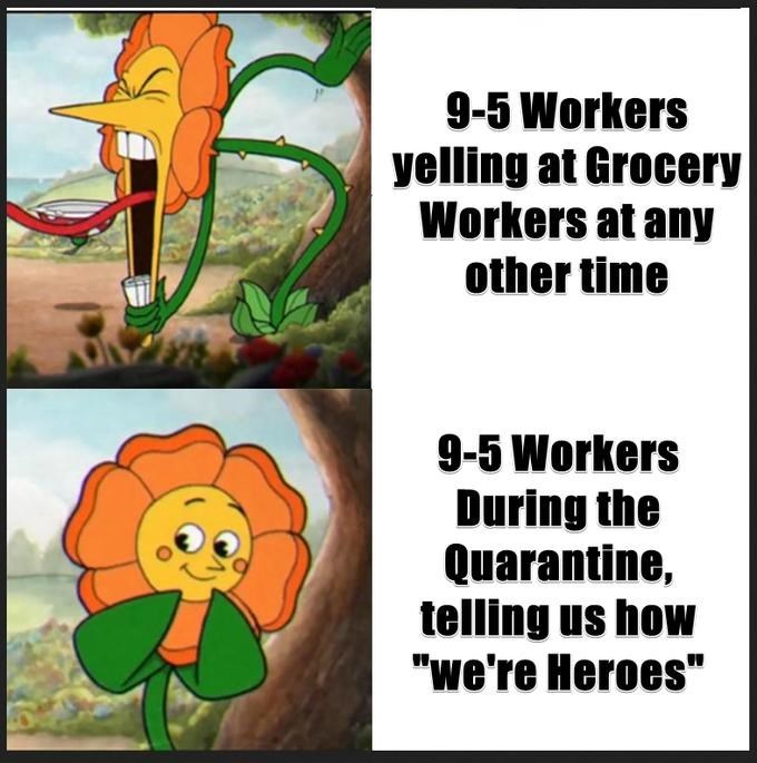 "Organism - 9-5 Workers yelling at Grocery Workers at any other time 9-5 Workers During the Quarantine, telling us how ""we're Heroes"""