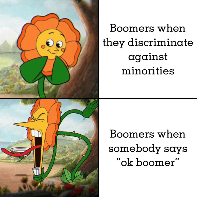 "Text - Boomers when they discriminate against minorities Boomers when somebody says ""ok boomer"""