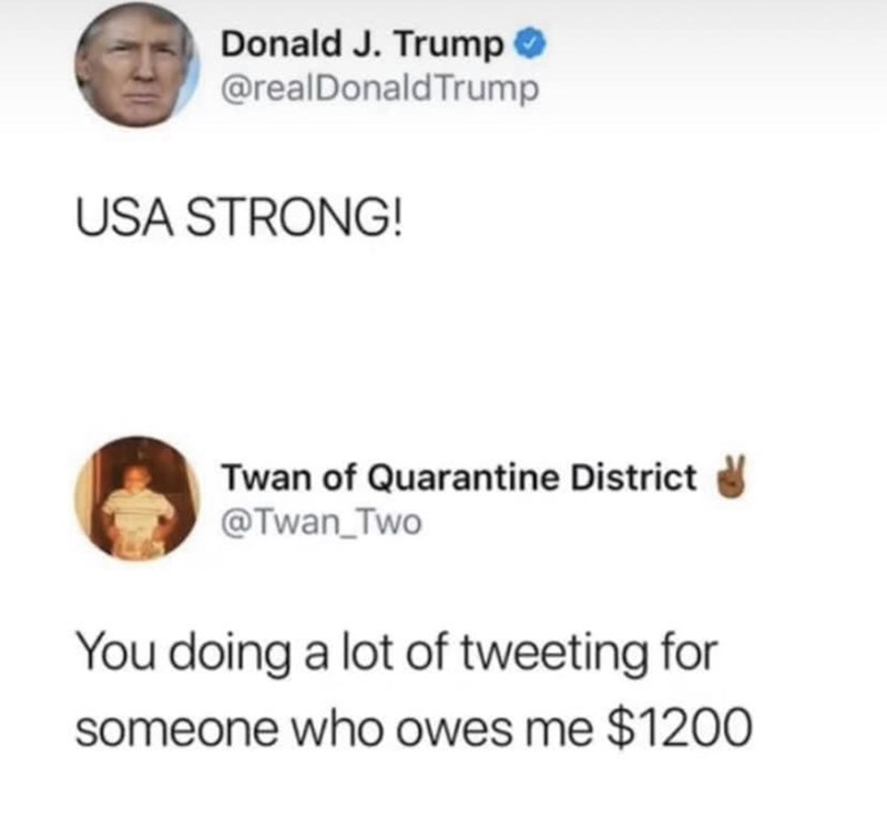 Text - Donald J. Trump O @realDonald Trump USA STRONG! Twan of Quarantine District @Twan_Two You doing a lot of tweeting for someone who owes me $1200