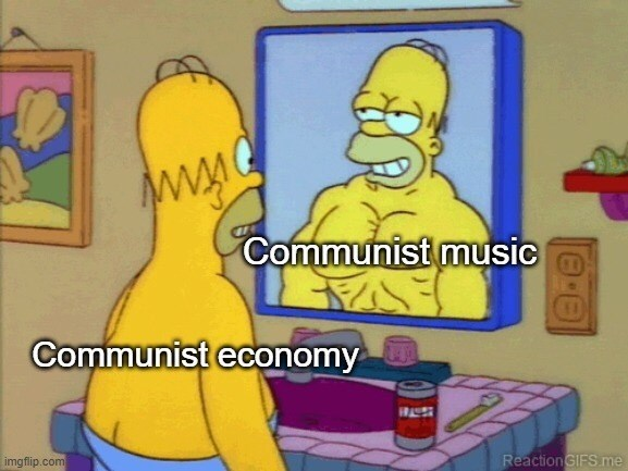 Cartoon - Communist music Communist economy 17A9S imgflip.com Reaction GIFS me
