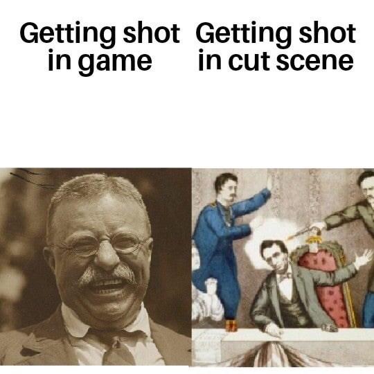 Text - Getting shot Getting shot in game in cut scene