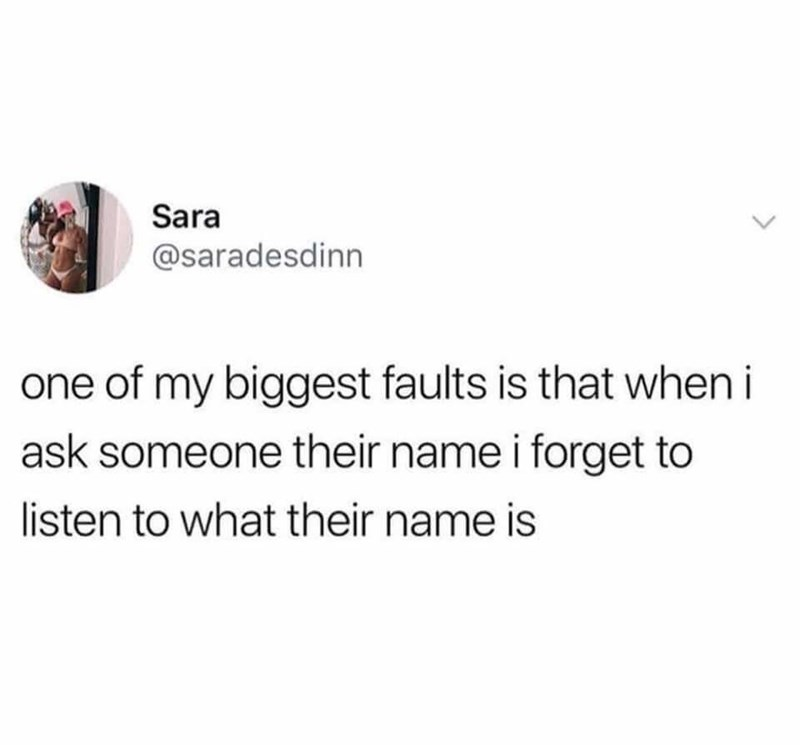 Text - Sara @saradesdinn one of my biggest faults is that when i ask someone their name i forget to listen to what their name is <>