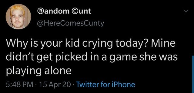 Text - ®andom ©unt @HereComesCunty Why is your kid crying today? Mine didn't get picked in a game she was playing alone 5:48 PM - 15 Apr 20 · Twitter for iPhone