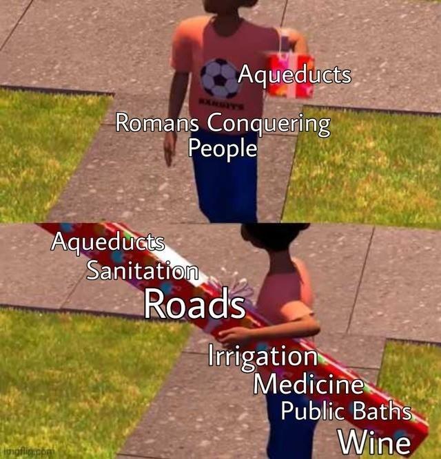 Photo caption - Aqueducts Romans Conquering People Aqueducts Sanitation Roads Irrigation Medicine Public Baths Wine ngflig.npai