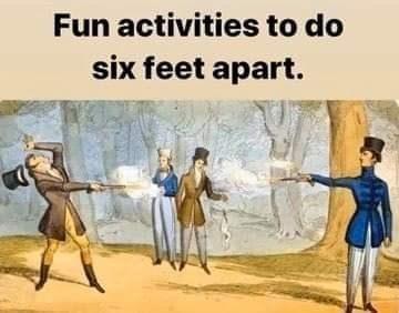 Cartoon - Fun activities to do six feet apart.