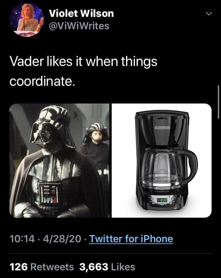 Automotive lighting - Violet Wilson @ViWiWrites Vader likes it when things coordinate. CLACK-DECKD 8:30 10:14 · 4/28/20 · Twitter for iPhone 126 Retweets 3,663 Likes