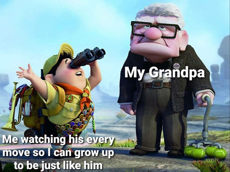 Cartoon - My Grandpa Me watching his every move so I can grow up to be just like him